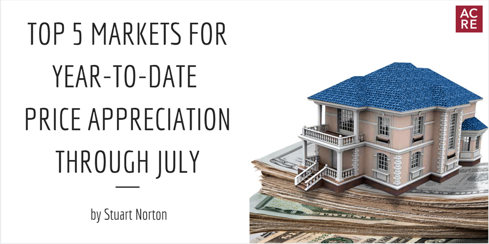 Top 5 Markets for Year-To-Date Price Appreciation Through July