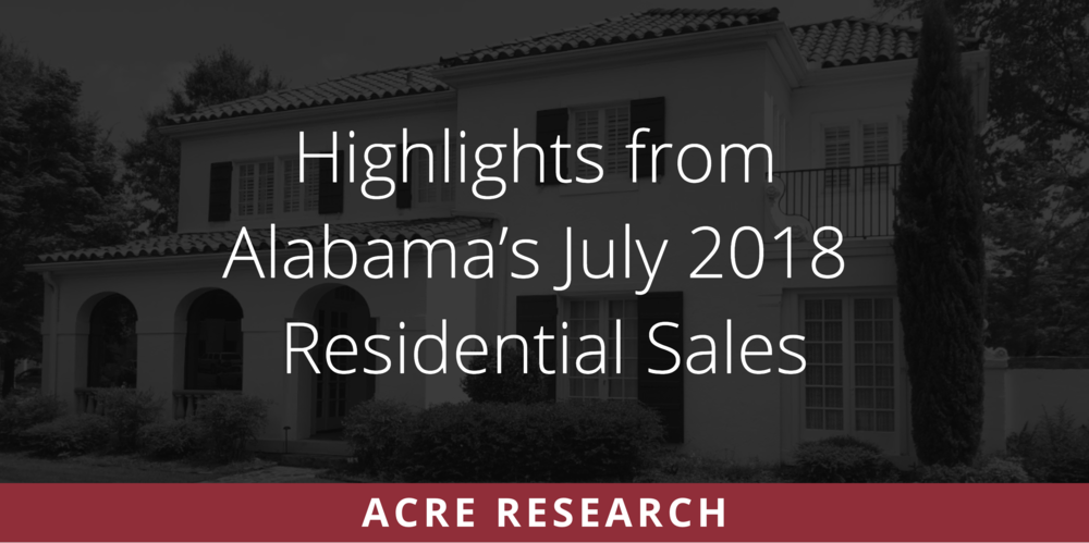 Highlights from Alabama's July Residential Sales