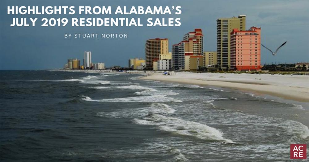 Highlights from Alabama's July 2019 Residential Sales