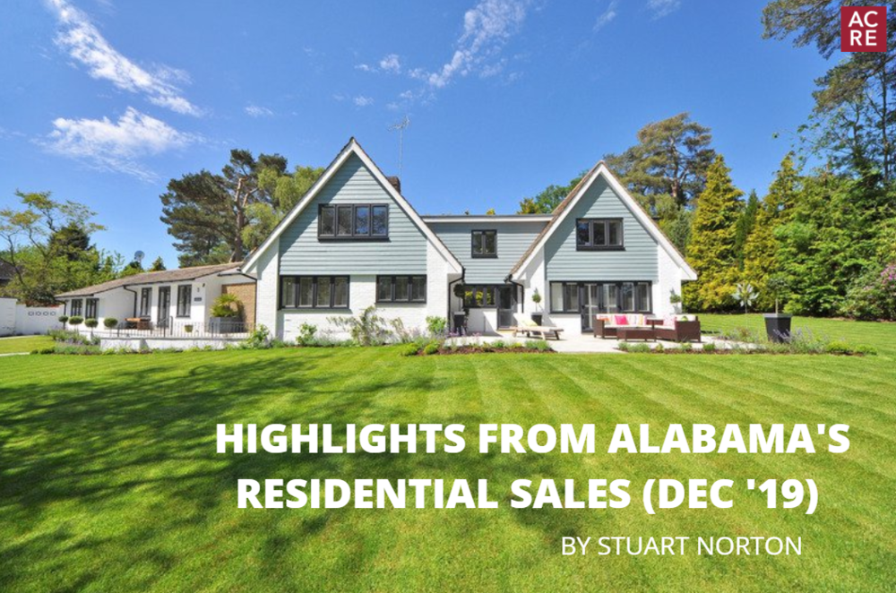 Highlights from Alabama's December 2019 Residential Sales