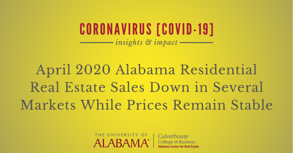 April 2020 residential sales down in several markets while prices remain stable