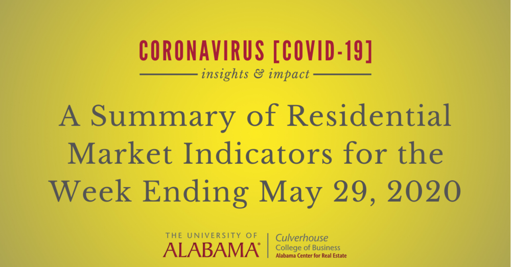 A summary of residential market indicators for the week ending May 29, 2020