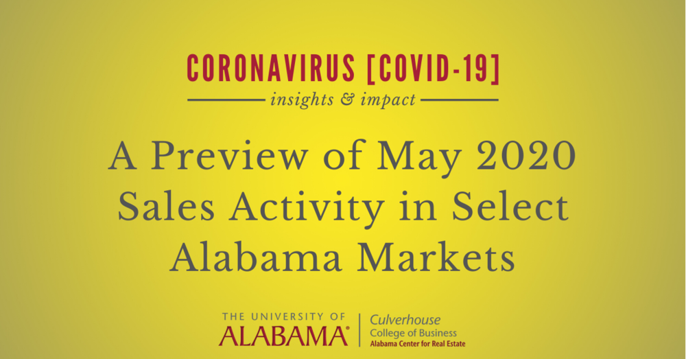 A preview of May 2020 sales activity in select Alabama markets