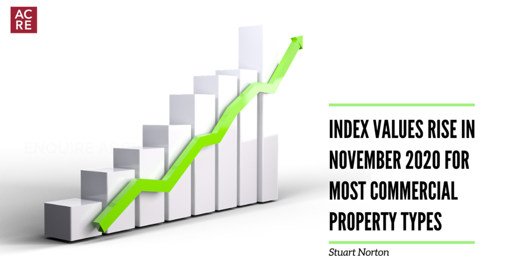 Index values rise in November for most commercial property types
