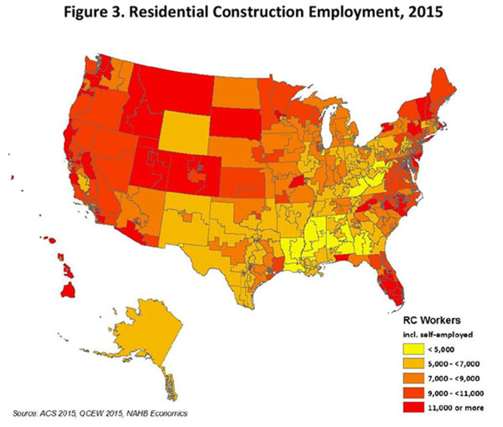 See where Alabama's residential construction employment stands with the rest of the country