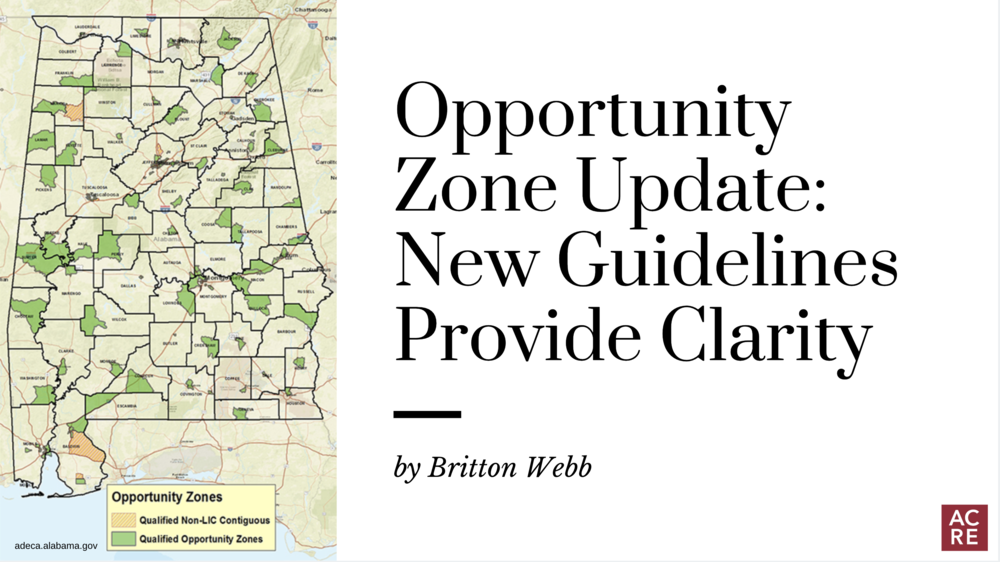 Opportunity Zone Update: New Guidelines Provide Clarity